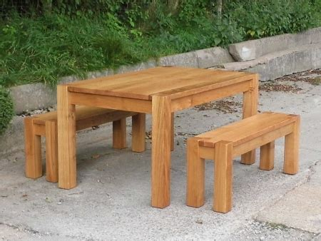 Oak Benches For Dining Tables Chunky Oak Dining Table And Benches Rustic Plank Furniture