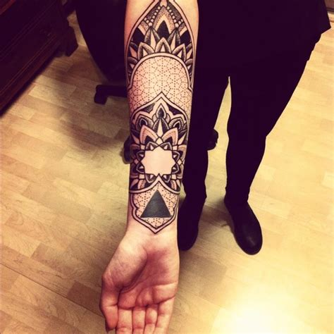 pretty in ink tattoo beautiful grey ink mandala flower on right arm