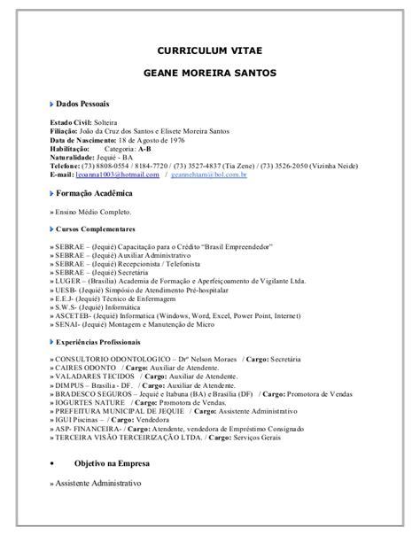 Modelo Curriculum Hospital Curriculum Vitae Geane Ii