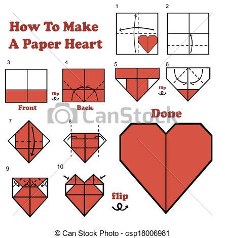 How To Make A Paper C - vecteur de comment 224 faire a papier coeur csp18006981