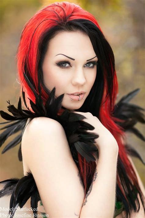 black hairstyles red hair attractive beautiful girls wallpapers cosplay gothic