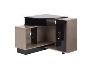 meuble tv d angle salvador mdf coloris noir et naturel