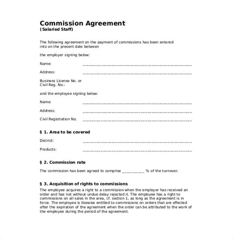 commission split agreement template commission agreement template word templates resume