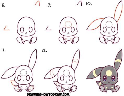 doodle draw step by step how to draw kawaii chibi umbreon from easy