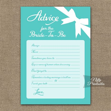 Bridal Shower Advice Cards Template by Printable Bridal Shower Advice Cards Blue