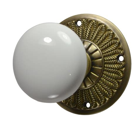 Porcelain Door Knobs Feathers White Porcelain Door Knob Antique Brass Finish