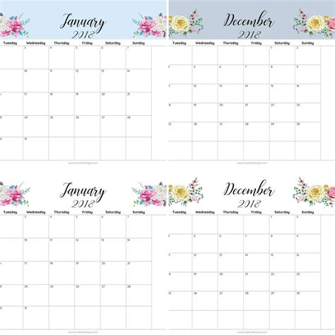 floral printable monthly calendar true bliss designs