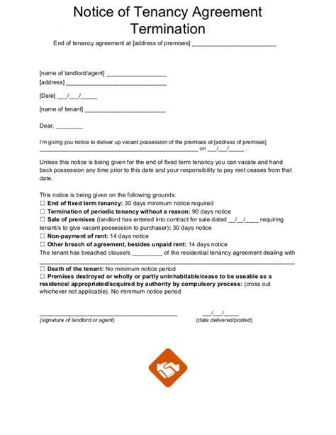 template for ending tenancy agreement sle letter for end of tenancy agreement docoments