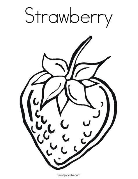 Strawberry Coloring Page Twisty Noodle Strawberry Coloring Page