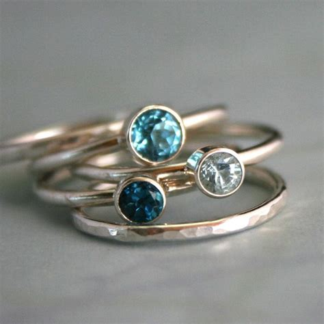 stacking rings topaz aquamarine sterling silver