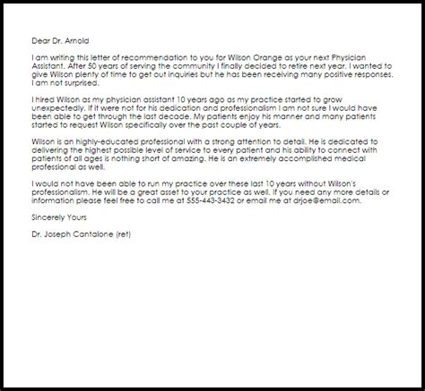 Physician Assistant Recommendation Letter Sample   LiveCareer