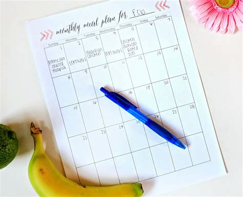 meal plan calendar template printable meal planning templates to simplify your
