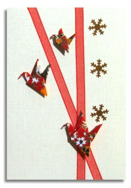 Christmas card Handmade   Three Origami Cranes with