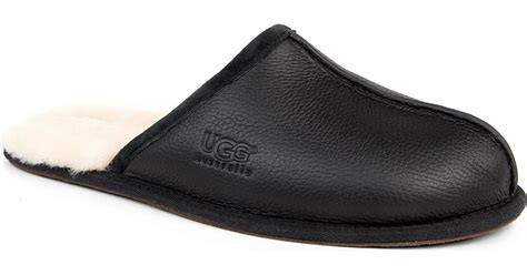 black mens ugg slippers ugg scuff leather slippers in black for lyst