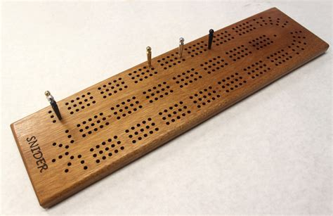 Cribbage Table by Large 3 Track Engraved Continuous Cribbage Board