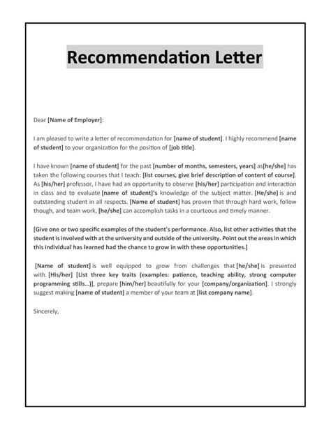 Reference Letter Points 43 free letter of recommendation templates sles