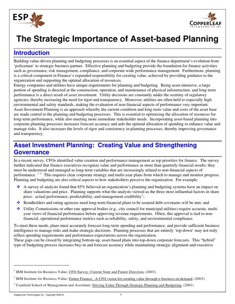 the strategic importance of asset based planning