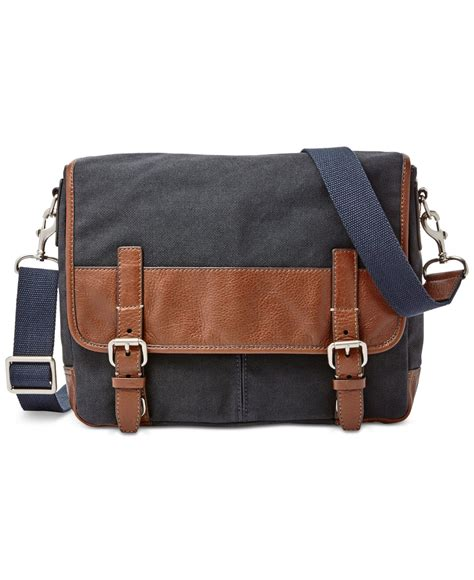 Fossil Kanvas Blue lyst fossil canvas small messenger bag in blue