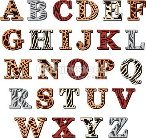 alphabet latin avec imprimé animal clipart vectoriel