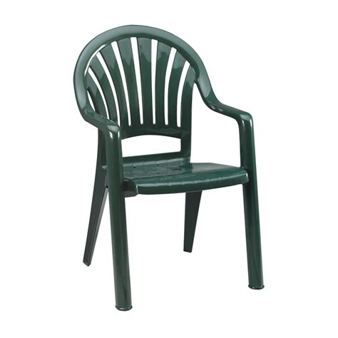 Grosfillex 16ea Pacific Fanback Patio Armchairs Green Or