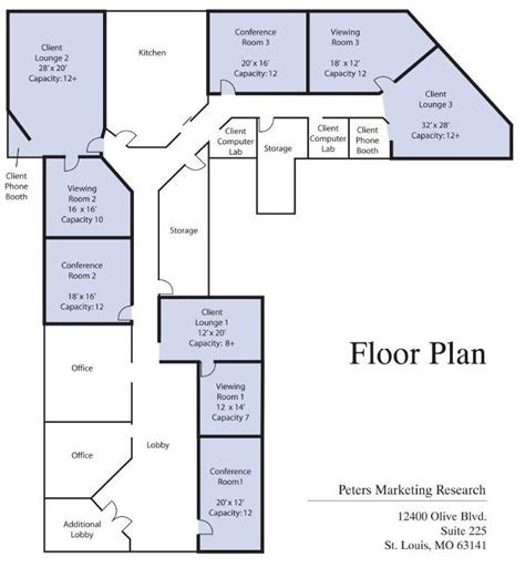 floor plan of peters marketing research inc client information