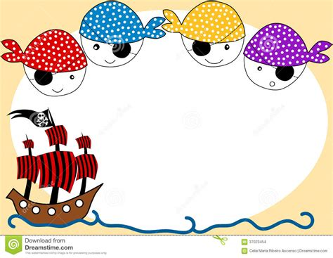 pirates and ship party invitation card stock illustration