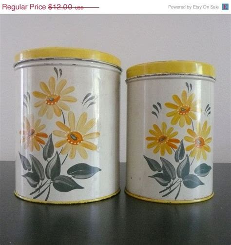 canister sets for kitchen counter yellow vintage canisters on sale yellow colorware tin canisters daisy flowers