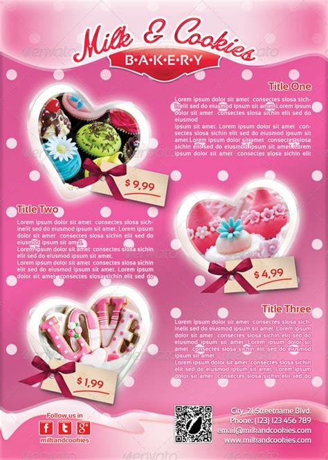 Valentines Cookies Flyer Template 25 By 21min Graphicriver Cookie Flyer Template Free