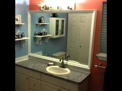 How To Frame A Bathroom Mirror With Crown Molding Diy Custom Bathroom Mirror Frame With Backsplash Using Crown Molding
