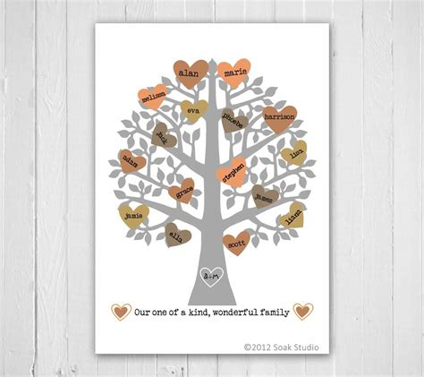 My Family Tree Include Family Tree Poster And 100 Stickers family tree print retro typography personalized