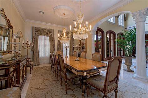formal dining room bayfront mediterranean villa  naples