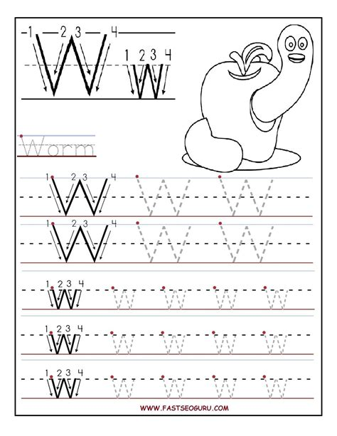 printable letter tracing sheets for preschoolers printable letter w tracing worksheets for preschool