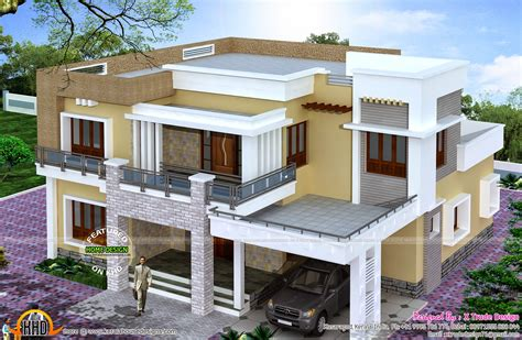 House Plans With A View To The Front by Different Views Of 2800 Sq Ft Modern Home Kerala Home
