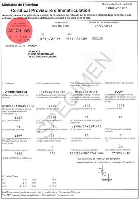 certificat provisoire dimmatriculation cpi