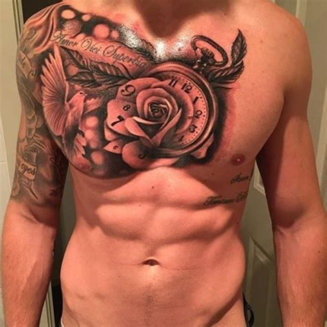 rose and dove tattoo chest and arm sleeve with dove and clock venice