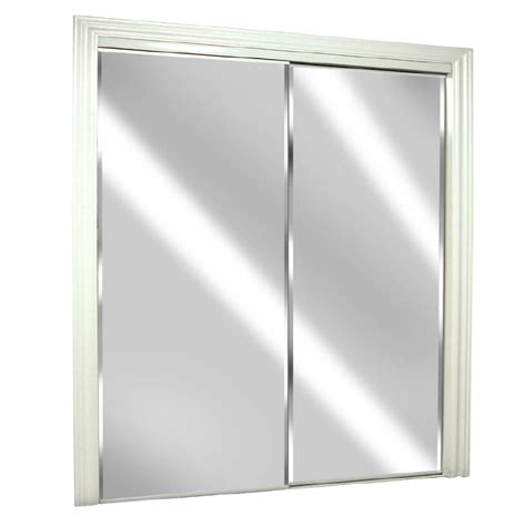 Sliding Glass Closet Doors Lowes Shop Reliabilt Glass Mirror Flush Mirror Sliding Closet Interior Door Common 72 In X 80 In