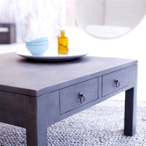Gray Wood Coffee Table Grey Mindi Wood Coffee Table Miro 80x80 Coffee Tables Tikamoon