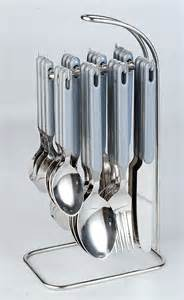 Cutlery Set With Stand by Elegante Rova Gray Cutlery Set 24 Pcs With Stand