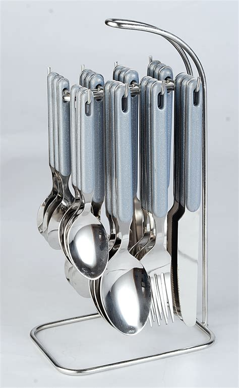 cutlery set with stand elegante rova gray cutlery set 24 pcs with stand