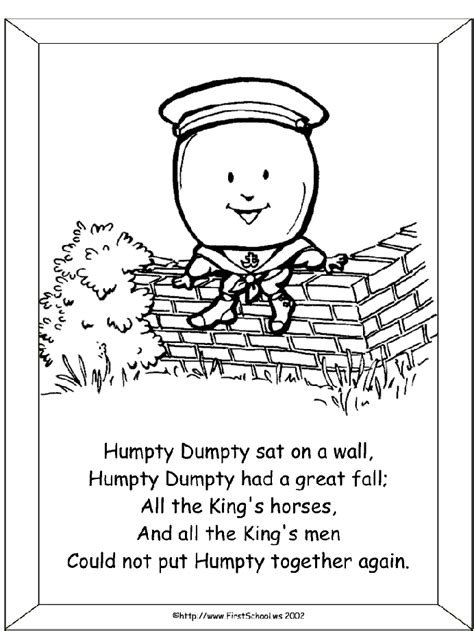 humpty dumpty coloring pages coloring home