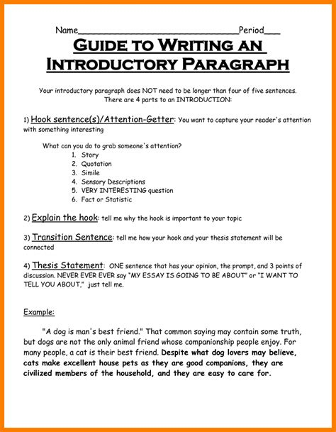 How To Write An Essay Intro by 8 Introduction Paragraph Template Park Attendant