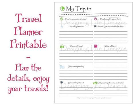 printable road trip planner vacation travel planner printable pdf sheets my trip to