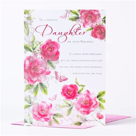 Special Birthday Cards Uk Birthday Card Flowers To A Special Daughter Only 59p