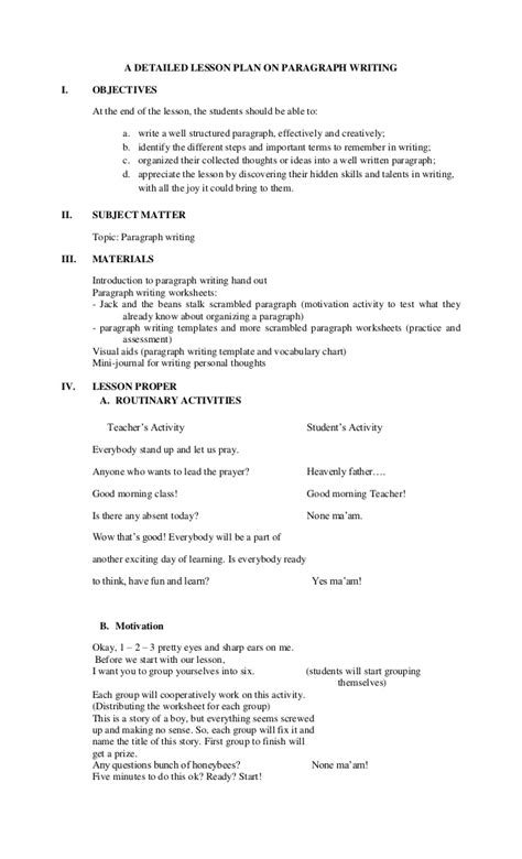 how to write a lesson plan template a detailed lesson plan on paragraph writing