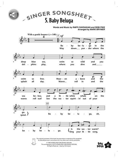 printable lyrics baby beluga baby beluga 187 kinderchor mit cd