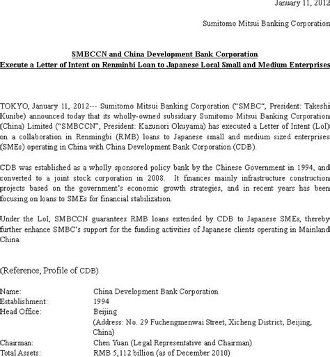 Loan Letter Of Intent Exle News Release Sumitomo Mitsui Banking Corporation