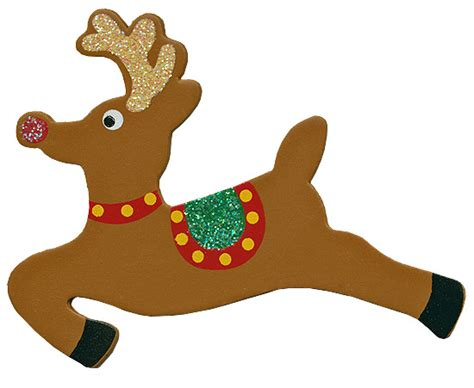 finished wooden glittery reindeer cutout holiday wood