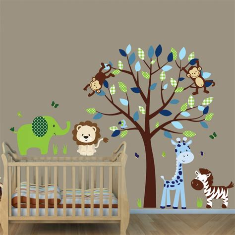 jungle tree wall stickers birds safari tree jungle animals decal blue wall