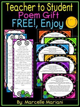 teacher presents to grade 1 students end of the year student book poem gift from to student free