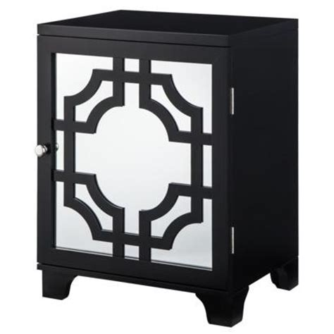 Target Mirrored Accent Table by Threshold Black Lattice Accent Table With Mirrored Door I